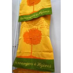 Les orangers à Hyères : torchon Maison Moutet (fabrication française)